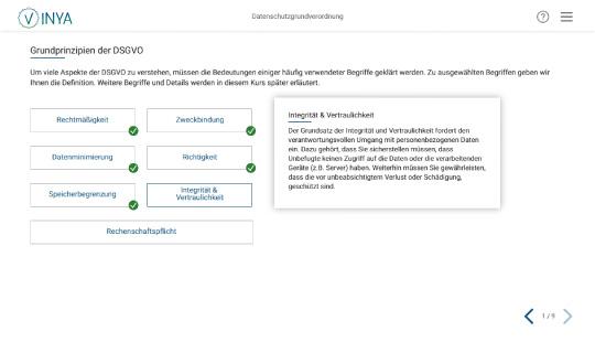 Kurs Screenshot Grundprinzipien der DSGVO