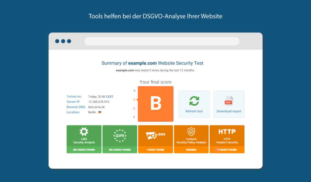 Tools zum DSGVO Check für Ihre Website