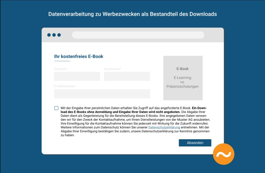 Zustimmung zur Datenverarbeitung als Bestandteil des Downloads