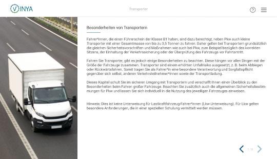 Einblick in die Unterweisung Transporter: Kapitel zu Besonderheiten von Transportern