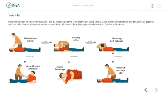 Screenshot Kurs Arbeitsschutz in der Pflege: Erste Hilfe