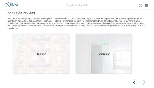 Screenshot Verhalten im Brandfall: Räumung und Evakuierung im Krankenhaus