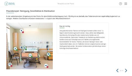 Screenshot Praxisbeispiel der Hygieneschulung für die Pflege